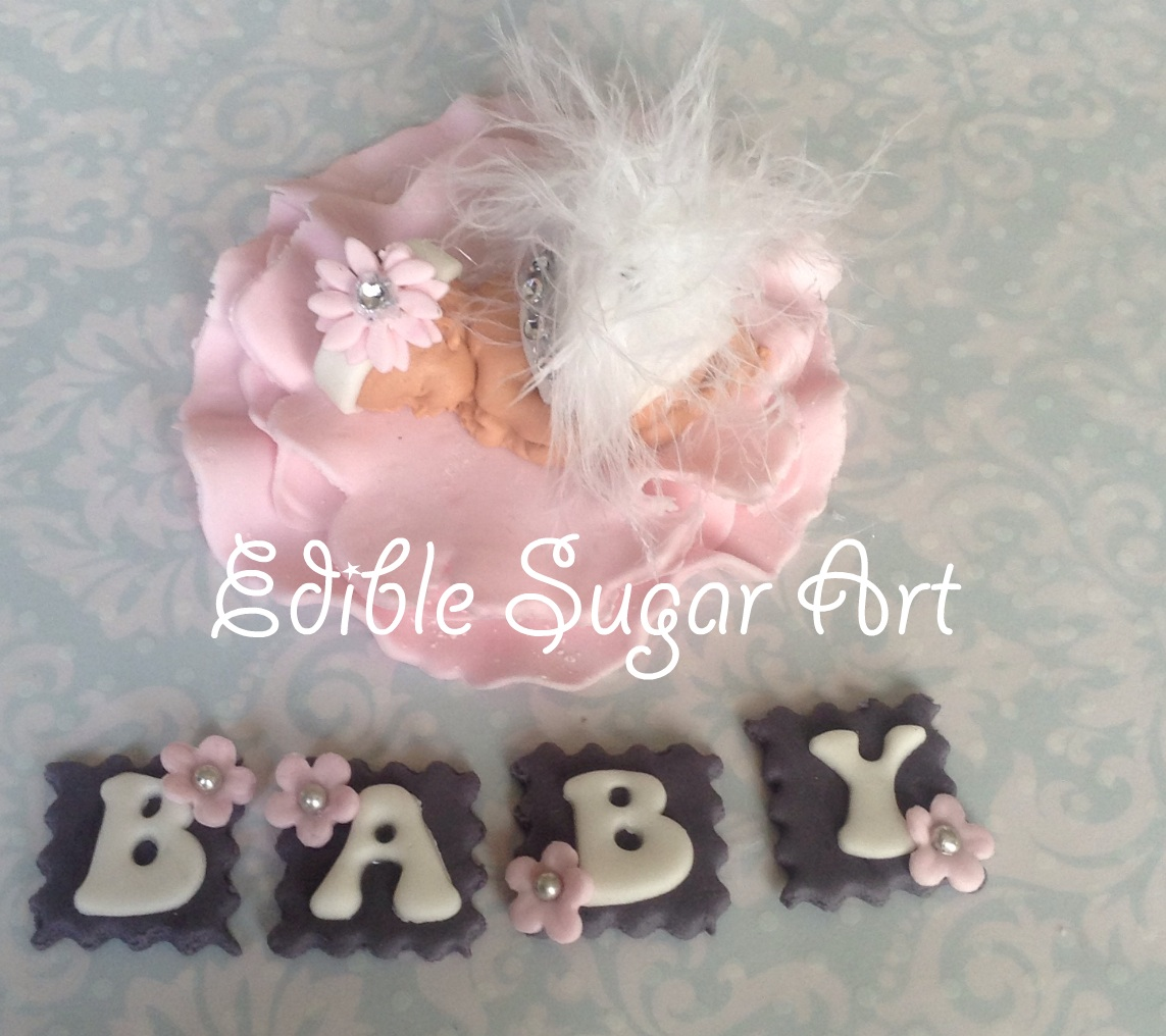 BABY SHOWER CAKE TOPPER FONDANT EDIBLE PINK AND GREY BABY SHOWER ...
