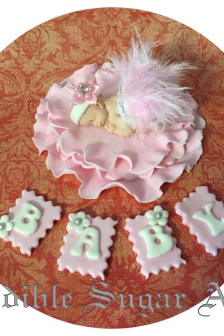 BABY SHOWER CAKE topper Pink feather tutu Topper Fondant baby Tutu Cake Topper Fondant Cake Topper baby girl