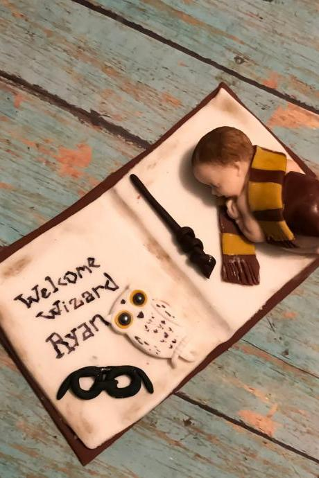 HARRY POTTER CAKE topper, Harry Potter baby shower, Wizard baby shower, wizard cake topper, Harry Potter decoration