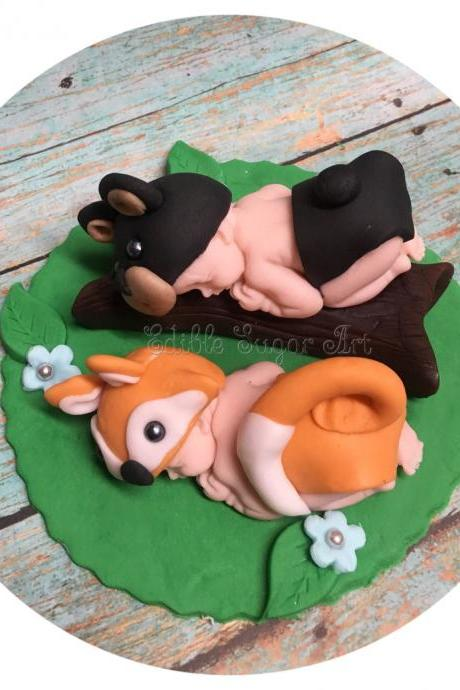 TWIN WOODLAND BABY Shower Cake Topper Fox and Bear twin nursery woodland nursery invitations What Does The Fox Say Baby boy fox beenie hat