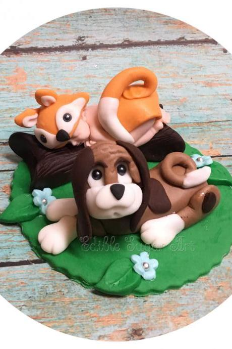 FOX AND HOUND BabY Shower Cake Topper Fondant Moose cake Bear Forest animal woodland nursery topper camo baby pink camo