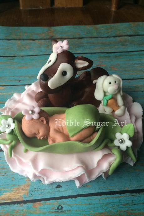 WOODLAND DEER BABYSHOWER Cake Topper Fondant Baby Girl or Boy woodland theme baby deer