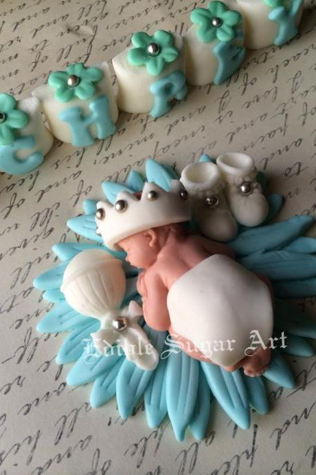 CHRISTENING CAKE TOPPER Baptism cross vintage Boy cake gown Topper Fondant Crown King Cross Baby shower first communion dress cross baptism