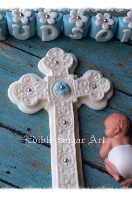 CHRISTENING CAKE TOPPER Baptism cake topper cross gown Boy Topper Fondant Crown King Cross Baby shower first communion dress cross baptism