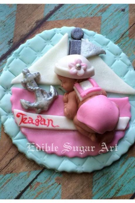 NAUTICAL BABY SHOWER nautical baby girl pink sail boat Fondant Cake Topper Sail Boat Anchor Baby Decorations