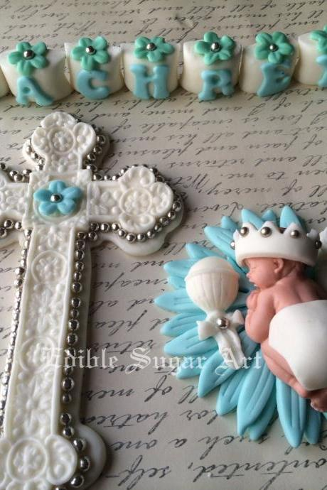 BAPTISM CAKE TOPPER Christening cake topper cross gown Boy Topper Fondant Crown King Cross Baby shower first communion dress cross baptism