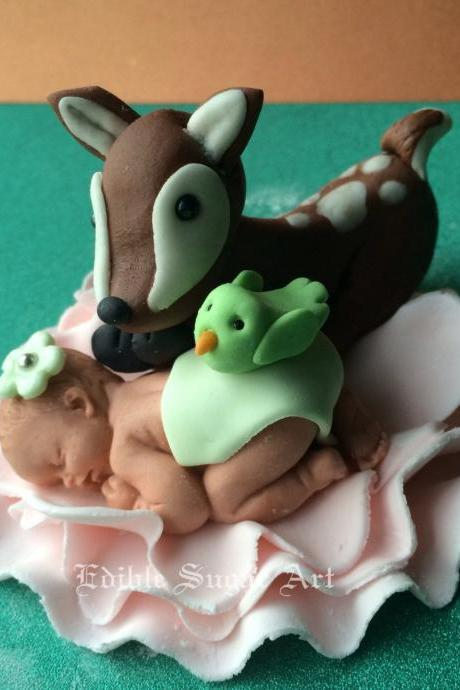 WOODLAND BABY SHOWER Cake Topper Deer Forest animals Woodland Nursery Decorations Fondant Baby Girl or Boy woodland theme baby deer