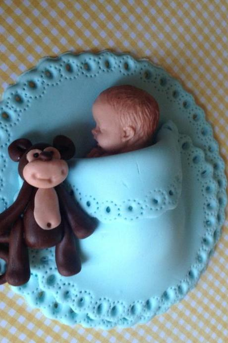 MONKEY BABY SHOWER Cake topper boy