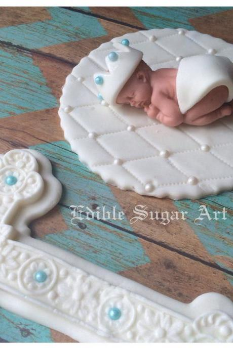 CHRISTENING fondant CAKE TOPPER Boy