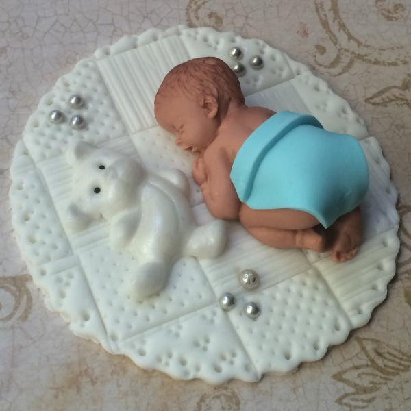 BABY BOY SHOWER FONDANT CAKE TOPPER BABY SHOWER DECORATIONS
