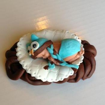 WOODLAND BABY SHOWER OWL FONDNAT CAKE TOPPER BABY SHOWER DECORATIONS